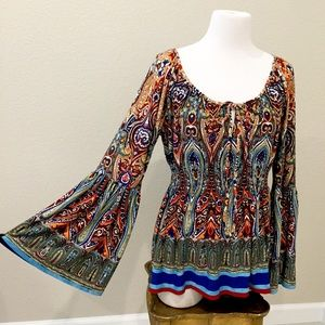 Boston Proper Bohemian Boho bell sleeve blouse